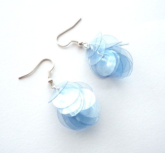 Blue earrings made of recycled plastic bottle by for Jewelry made from plastic bottles