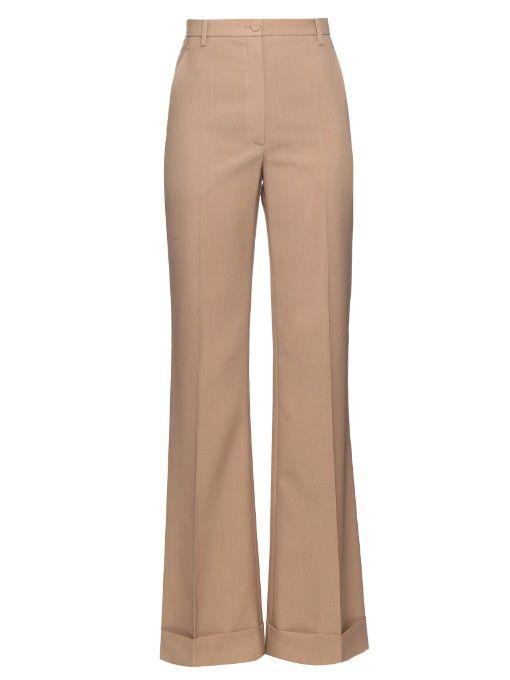 NINA RICCI Wide-Leg Turn-Up Wool Trousers. #ninaricci #cloth #trousers