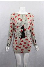 Women's Free Size Knitted Jumper with Black Cats & Red Heart Print (#3285T Grey)