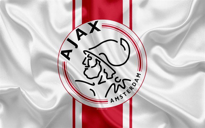Download wallpapers AFC Ajax, 4K, Dutch football club, logo, Ajax emblem, Eredivisie, Dutch football championship, Amsterdam, Netherlands, silk texture, Ajax FC
