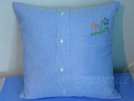 Recycled Men's Shirt Pillow Cover with HandEmbroidered by converde, $19.00