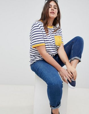 f998aa3a09 ASOS DESIGN Curve stripe t-shirt with contrast pocket