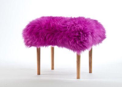 Carys Sheepskin Footstool  Cerise