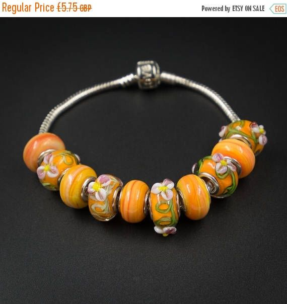 20% OFF orange flower european style large hole glass beads