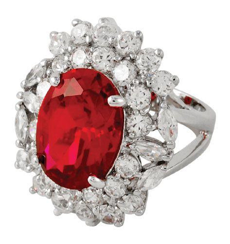 Melania Trump To Debut QVC Collection.    Timepieces & Fashion Jewelry by Melania Trump: Ring (image above) from the Paris collection. Comes in   Large Prong Set Oval Ruby Color Crystal or Large Prong Set Oval Sapphire Color Crystal.