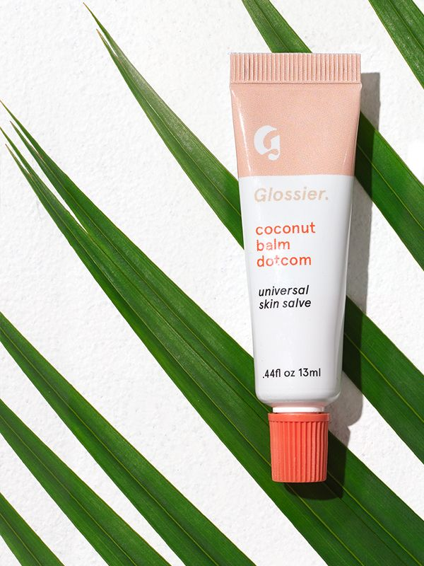 Glossier coconut balm dotcom. HHHHHH this skin salve gives me the warmest fuzzies, I want everyone I know to use it! It smells like a freshly cracked open coconut, not at all fake or sweet like other coconut-scented products. It's the perfect thick before-bed lip and cuticle treatment, and I use it as a highlighter on my no-makeup days!