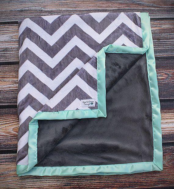 Minky Decke Kind-Decke Chevron Decke grauen von HeartstringThings