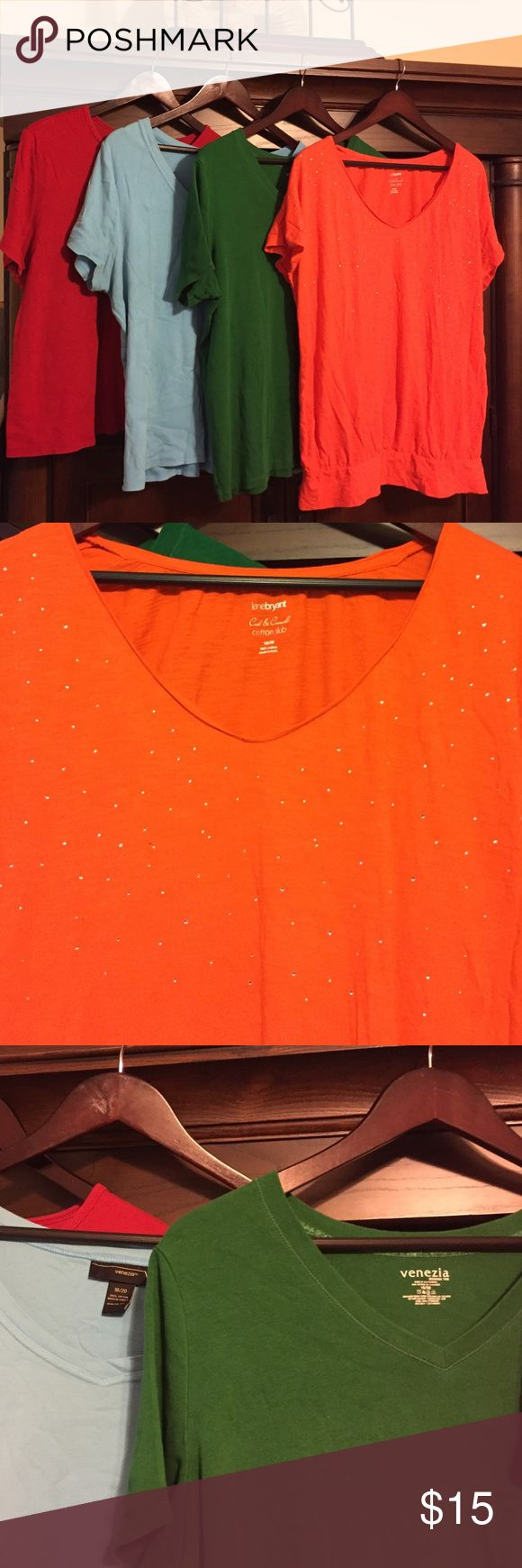 Bundle of 4 Lane Bryant tees Bundle of four Lane Bryant tees in the following colors:  red, Kelly green, turquoise, and orange. Orange tee features some rhinestone embellishment for a bit of visual interest. Lane Bryant Tops Tees - Short Sleeve