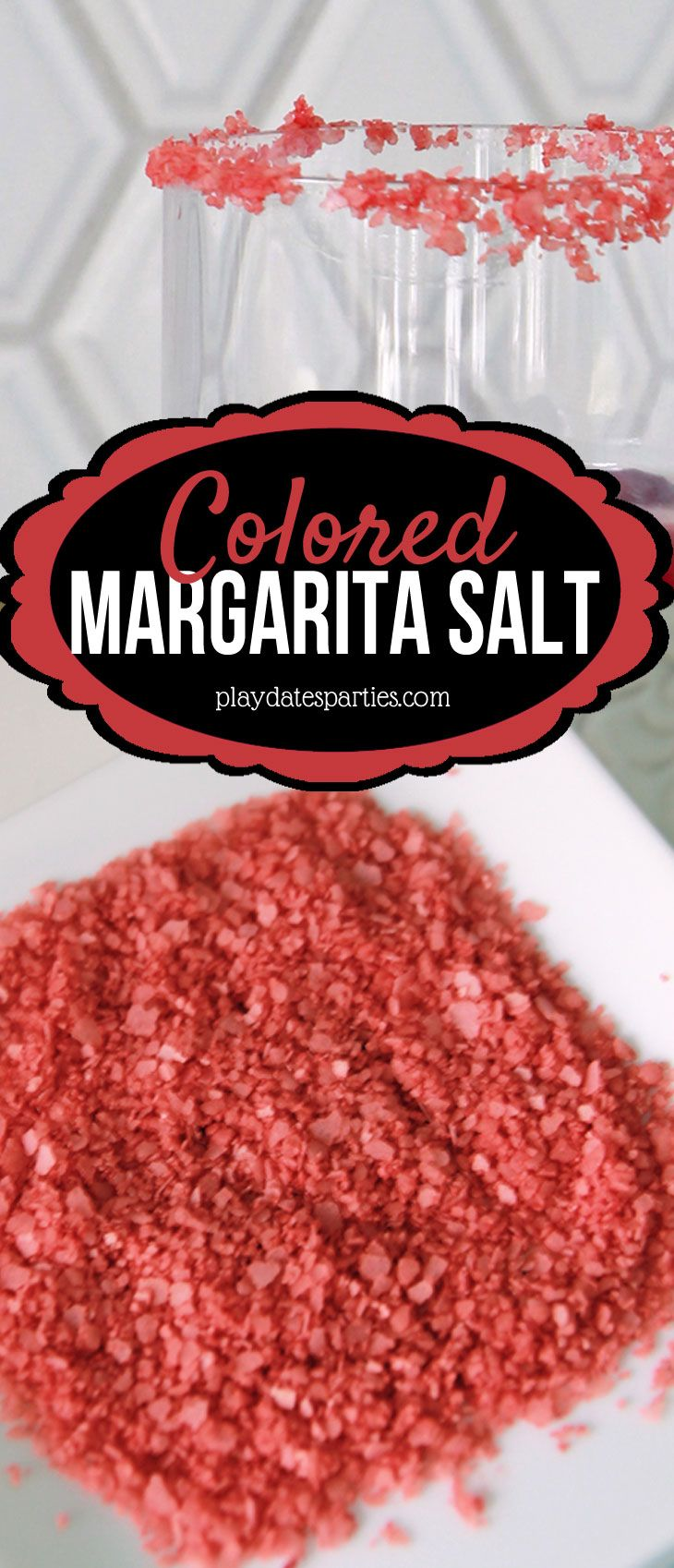 Add some color to your fiesta! Learn how to make colored margarita salt and 7 other easy ways to garnish your cocktails that will take your party drinks to the next level!  https://playdatesparties.com/how-to-make-colored-margarita-salt-ways-to-garnish-mixed-drinks/