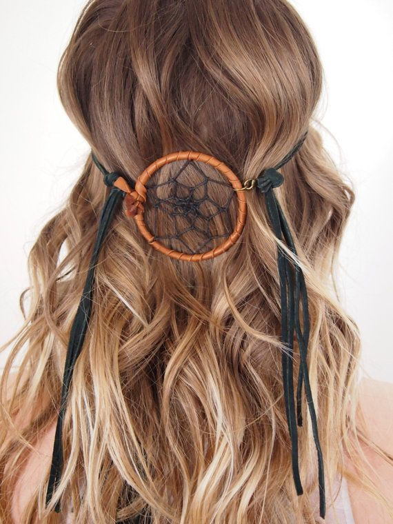 Dreamweaver leather headband, Native American inspired, boho festival accessories on Etsy, $32.00