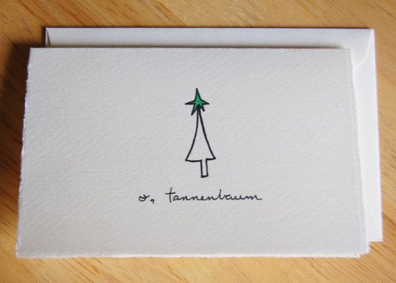 Christmas Tree Card  Cute Tree Drawing  O by LittleShopofElleSee, $4.25