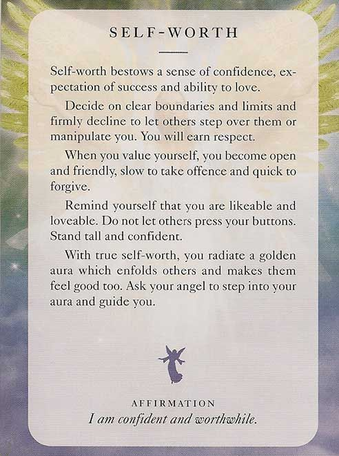 Self-worth; Angels of Light cards; Diana Cooper