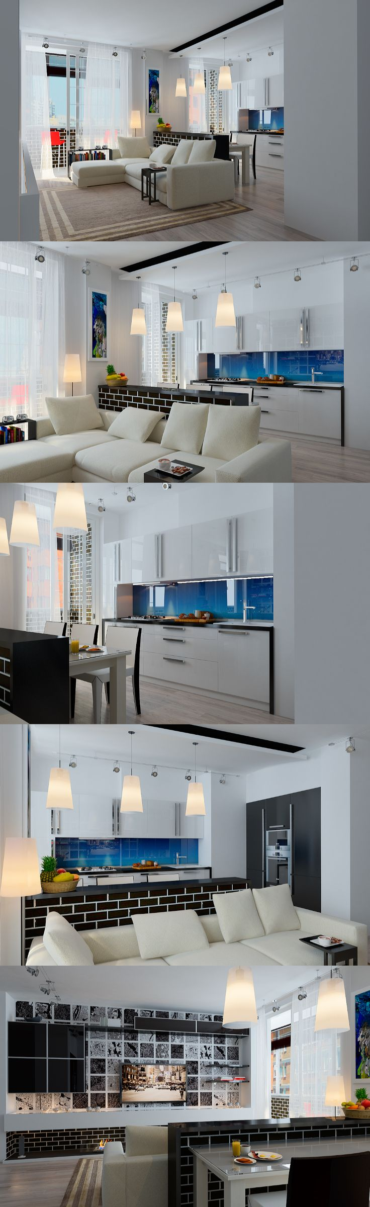 Modern living room. Grey walls, neutral colors