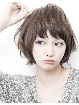 2015★可愛いアッシュカラーとゆるふわパーマショートボブ☆