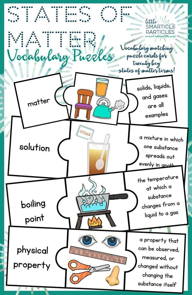 hight resolution of Properties of Matter Vocabulary Puzzle Cards   Matter vocabulary