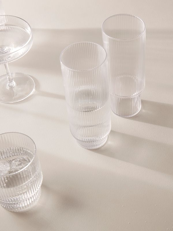 Ripple Long Drink Glasses Set Of 4 Home In 2019 Drinking Glass Champagne Saucers Drinks