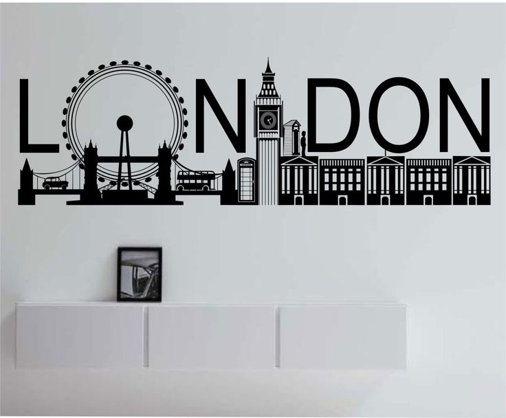 London skyline large vinyl wall decal sticker art decor bedroom design mural city modern city