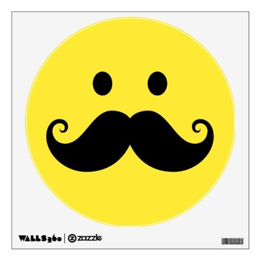 smiley face images | fun_yellow_smiley_face_with_handlebar_mustache_walldecal ...