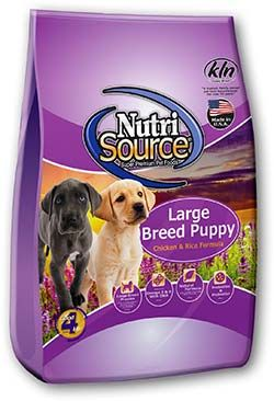 NutriSource® Large Breed Puppy Food, Chicken and Rice Formula, provides a scientifically formulated easy-to-digest food for large breed puppies.