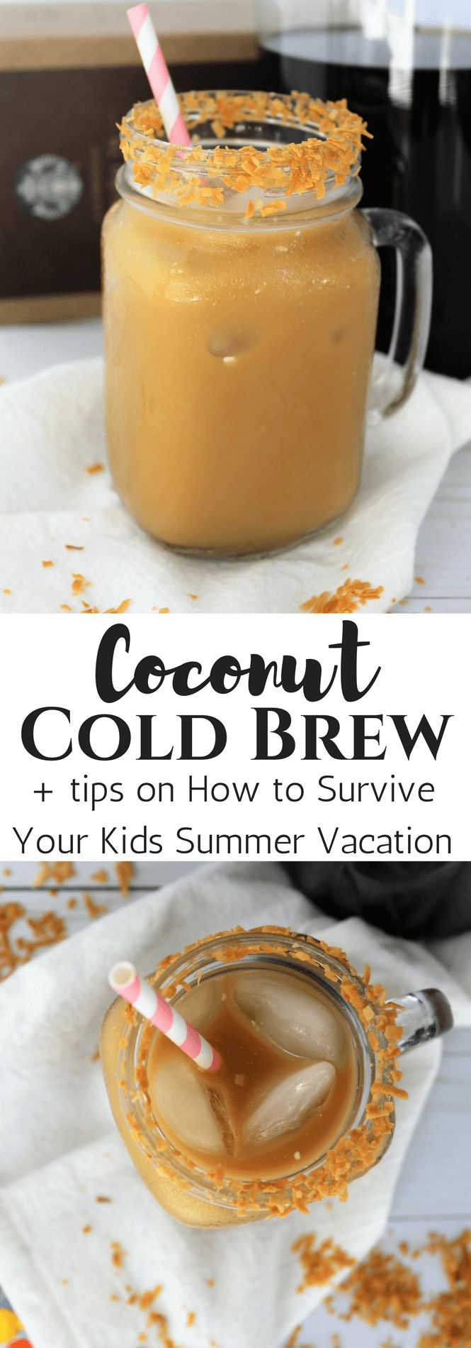 #ad #craftyourcool , We are making a delicious Coconut Cold Brew Coffee using @starbucks  available @walmart  to help you survive your kids summer vacation!