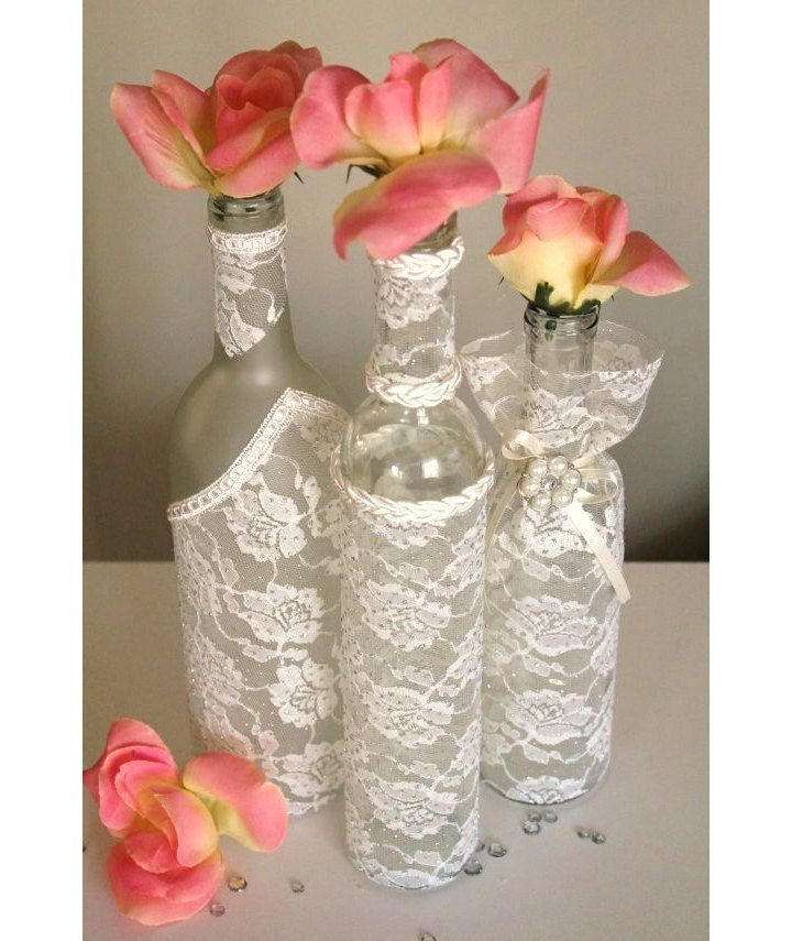 Set 3 decorated wine bottle centerpiece ivory lace wine for Wedding table decorations with wine bottles