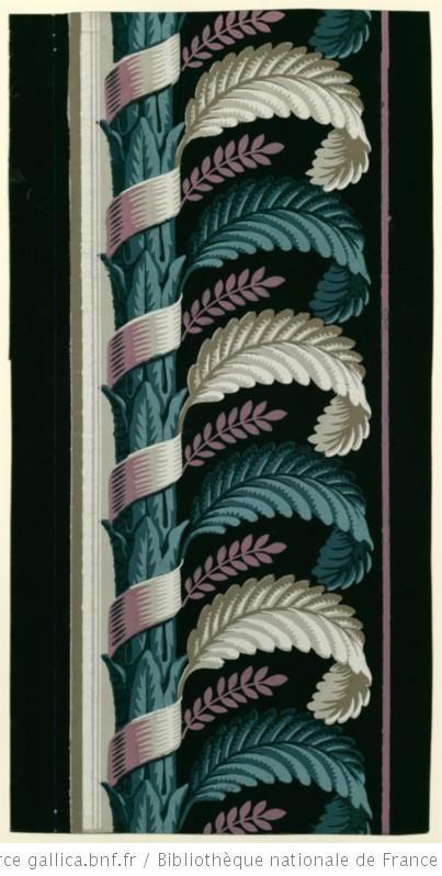 [Manufacture Jacquemart et Bénard. Bordure. Une bande de montant de feuillage autour duquel s'enroule un ruban et d'où jaillissent des feuil...
