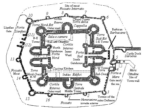 beaumaris castle plan from the cadw guidebook