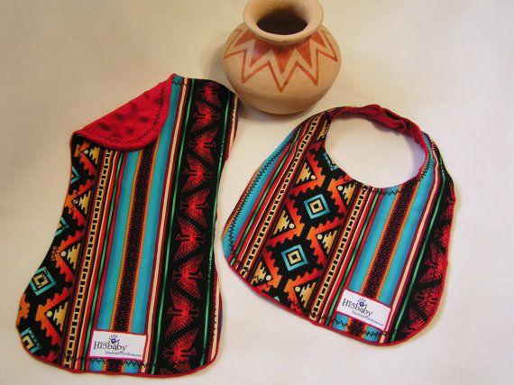 Gender Neutral Aztec/Southwestern Bib and Burp Cloth Set on Etsy, $20.00
