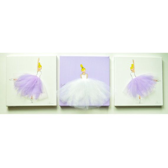 Set of 3 Ballerina Canvases - Hand painted Canvas, nursery artwork, baby shower, baby room, nursery decor, lavender room