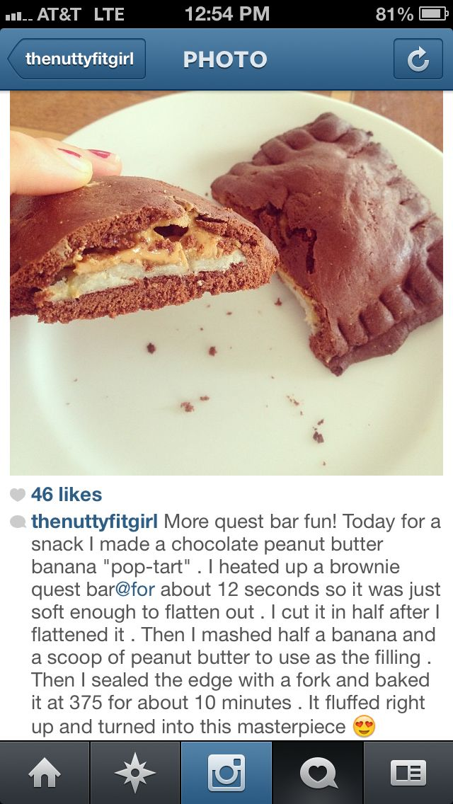 banana, quest bar, peanut butter...