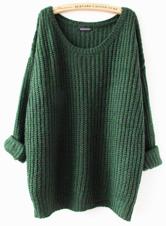Green Plain Round Neck Casual Pullover Sweater - Pullovers - Sweaters - Tops