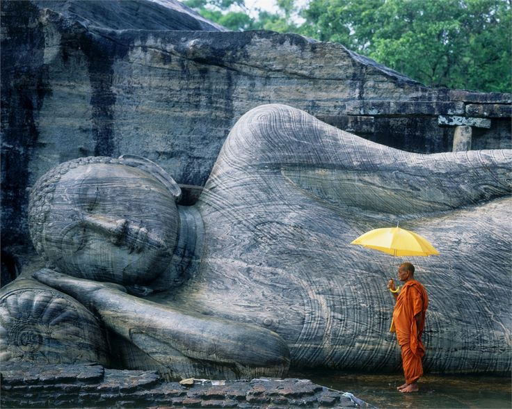 The Galyhare, an outstanding site in Polonnaruwa - Sri Lanka, is also known as the Cave of the Spirits of Knowledge. It is an outdoor rock wall where giant standing and reclining sculptures of the Buddha were carved out of the living rock.
