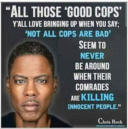 """Yes where the heck are you """"good cops""""?  Sure aren't giving press conferences calling for an end to police breaking the law."""