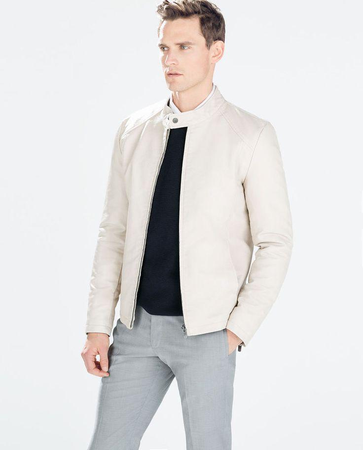 ZARA Man BNWT Ice Faux Leather Jacket Cream Off White Coat 0706/428 RRP £79.99