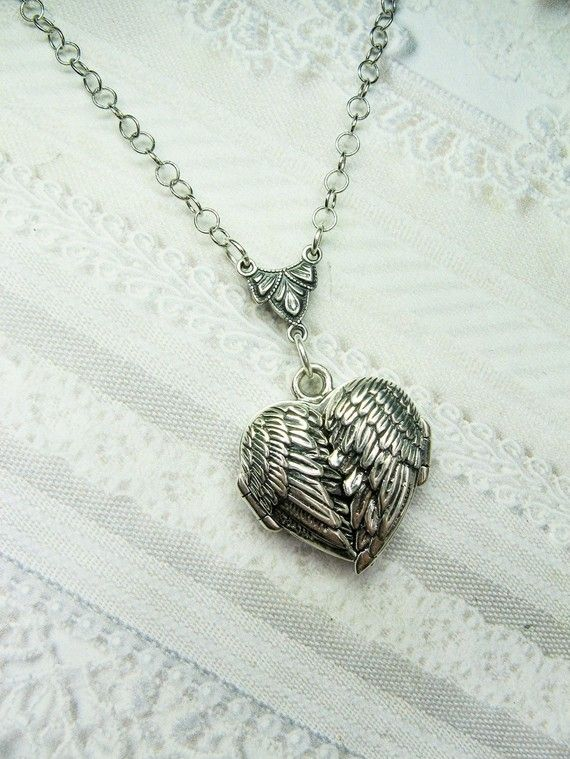 Silver Locket Necklace - GUARDIAN ANGEL- Silver Angel Wing LOCKET- Jewelry by BirdzNbeez -  Christmas Wedding Birthday Bridesmaids Gift