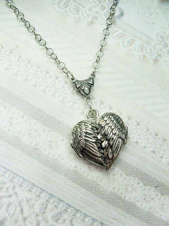 Collar medallón de plata plata corazón Guardapelo por birdzNbeez