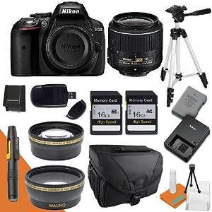 Nikon D5300 with Nikon 18-55mm Lens Wide Angle Lens Telephoto Lens Camera Case Tripod Battery Charger Card Reader & More