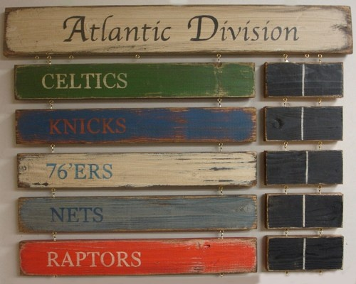 Boston Celtics New York Knicks Philadelphia 76'ers Jersey Nets Toronto | MyRusticBoardSigns - Woodworking on ArtFire