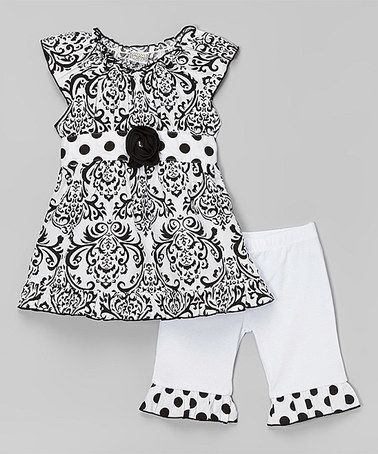 This Black & White Bebe Tunic & Pants - Infant, Toddler & Girls is perfect! #zulilyfinds