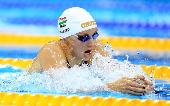 Katinka Hosszu of Hungary wins Gold and sets a new World Record in the Women's 400m Individual Final on Day 1 of the Rio 2016 Olympic Games at the...