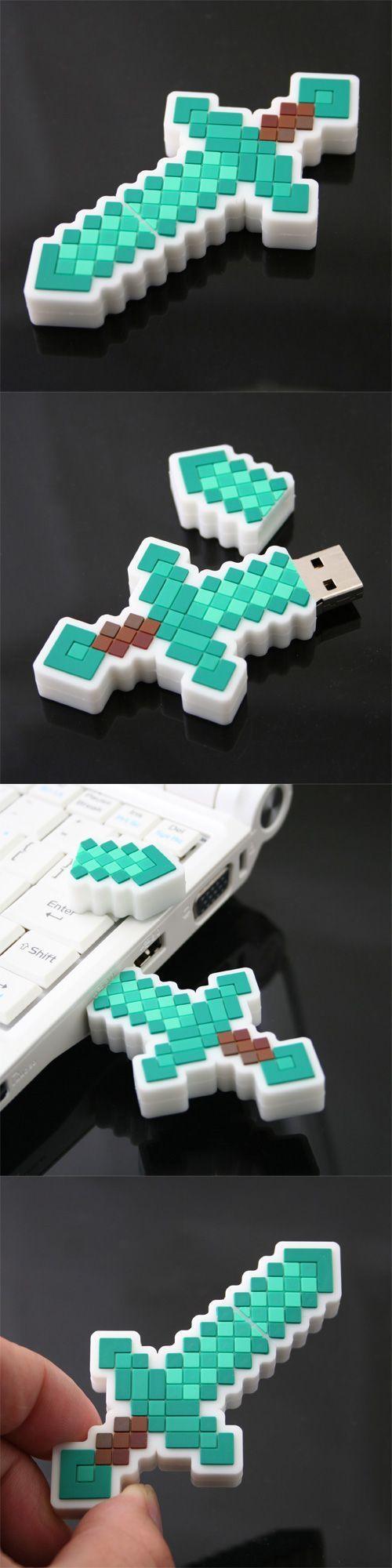 #Minecraft Diamond Sword #USB http://www.usbgeek.com/products/minecraft-diamond-sword-usb-flash-drive