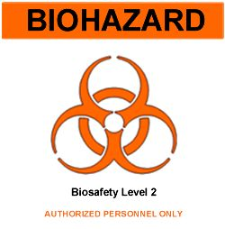 Biohazard sign for a biosafety level 2 laboratory. It states biosafety level 2, authorized personnel only.