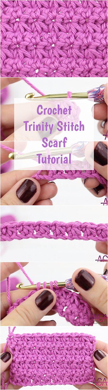 Crochet Trinity Stitch Scarf Tutorial