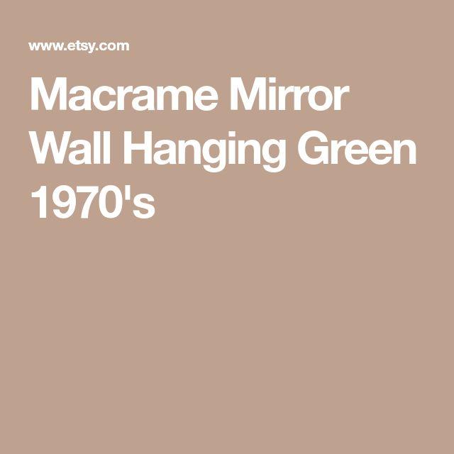 Macrame Mirror Wall Hanging Green 1970's