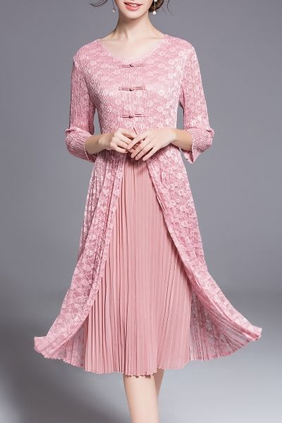 Daipya Pink Double Layer Lace Dress | Midi Dresses at DEZZAL