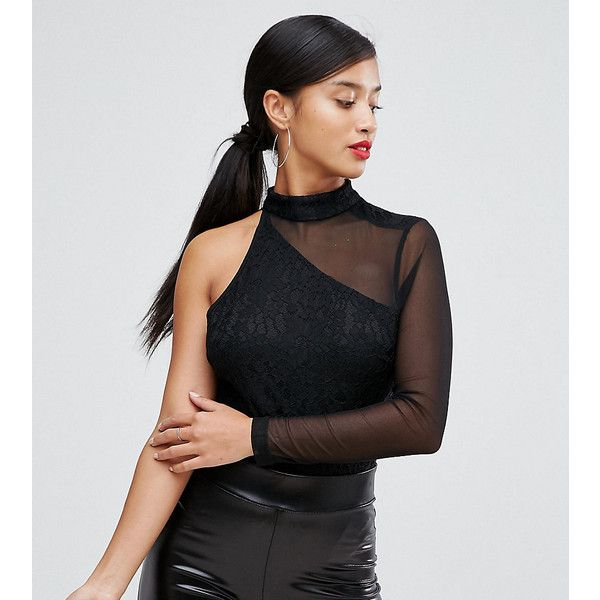 NaaNaa Petite One Shoulder Long Sleeved Body ($18) ❤ liked on Polyvore featuring dresses, black, petite, petite cocktail dress, long-sleeve midi dresses, cocktail party dress, one shoulder cocktail dress and midi dress