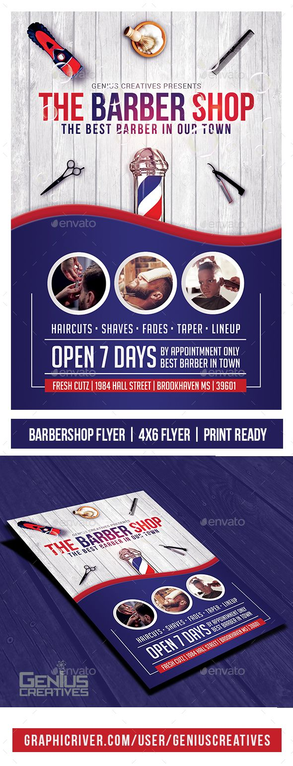 Barber Shop Flyer Template v3 We have created an Awesome, Bright, Clean Barber Shop Flyer Template design that is great for advertising local Barber Shop or Salon. The design has 3 places for showing off some of your awesome haircuts, Lineups, and beard shape ups. Most Barber Shop Flyers forget that barbers like to show off their work, so we deci