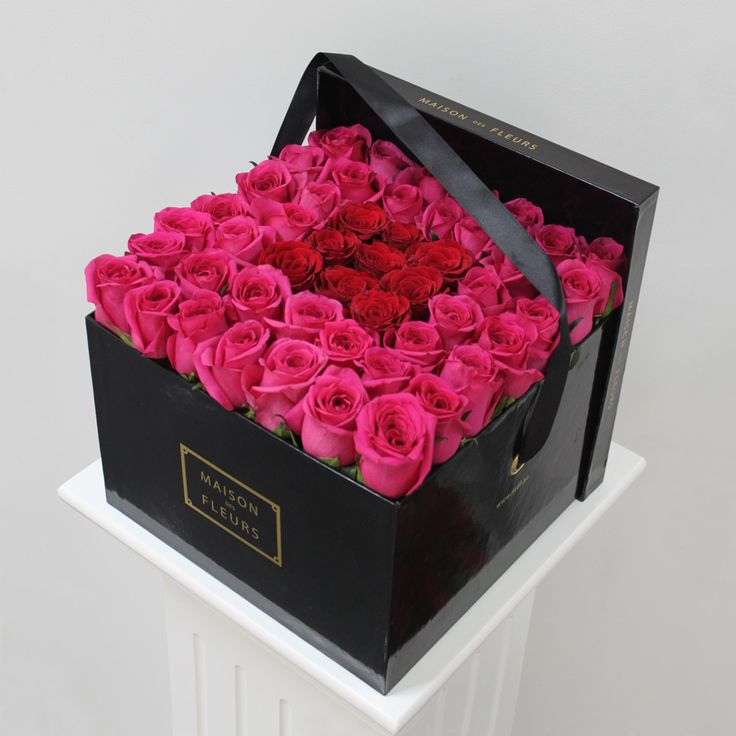 Square Box with Pink and Red Roses | MDF