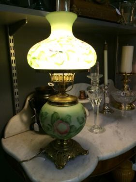 1950's Reproduction Gone With The Wind Lamp  2' Tall  $75  Dealer #8804  Lucas Street Antiques 2023 Lucas Dr. Dallas, TX 75209