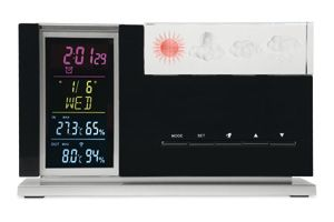 TEMPOCRYSTAL - Weather station in ABS casing with outdoor sensor and crystal display weather forecast. Includes alarm clock, calendar, thermometer and hygrometer. 2 AAA batteries not included.  For more great ideas contact john@fortunemarketing.ie